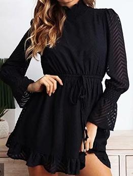 Sexy See Through Elastic Waist Black Dress