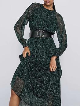 Fashion Crew Neck Loose Print Green Maxi Dress
