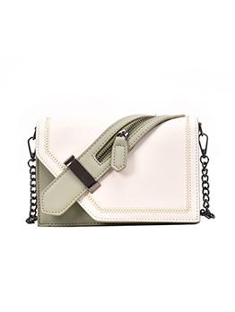 Contrast Color Zipper Buckle Strap Decor Ladies Shoulder Bag