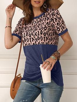 Twist Hem Leopard Printed Cotton T Shirt
