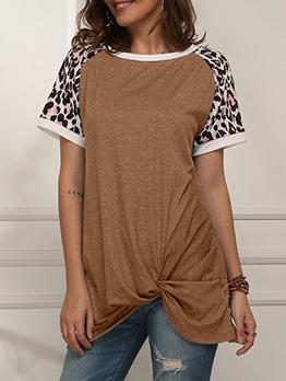 Twist Hem Short Sleeve Leopard Long T Shirt