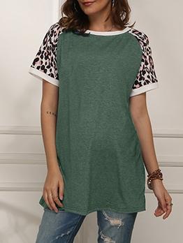 Casual Leopard Printed Short Sleeve Tee