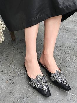 Versatile Rhinestones Lace Womens Flats Mules