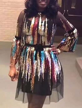 Gauze Panel Colorful Sequin Two Piece Dress