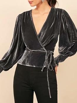 V Neck Tie-Wrap Lantern Sleeve Velvet Blouse