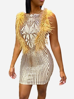 Feather Decor Sleeveless Bodycon Sequin Dress