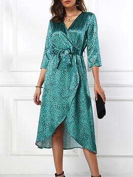 Fashion V Neck Tie-Wrap Leopard Midi Dress