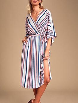Fashion V Neck Tie-Wrap Loose Striped Midi Dress