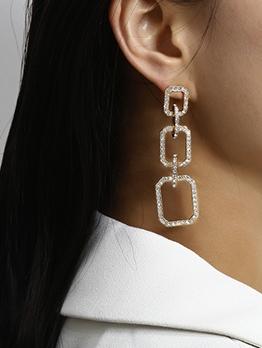 Creative Rhinestone Geometric Drop Earrings