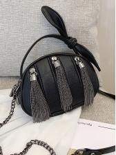 Tassel Bow Decor Small Shoulder Bag