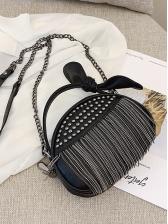 Rivet Tassel Bow Decor Small Shoulder Bag