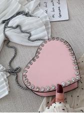 Love Shape Rhinestone Chain Shoulder Bag