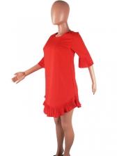 Loose Crew Neck Pleated Trim Casual Dresses