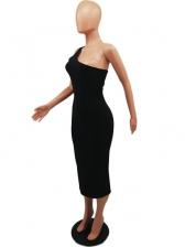 Stylish Solid Inclined Shoulder Sleeveless Midi Dress
