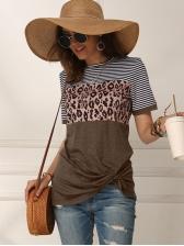 Striped Leopard Printed Twist Hem Short Sleeve T Shirt