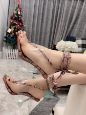 Transparent Cone Heels Snake Print Lace Up Sandals