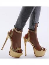 Super High Heels Glossy Golden Platform Sandals