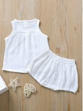 Summer Crew Neck Sleeveless Clothing Set For Kids