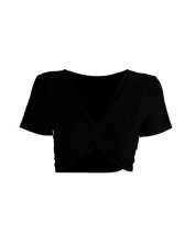 Solid Front Twist Short Sleeve Cropped T Shirt
