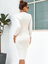 Chock Beading Long Sweater Dress