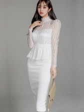 Mock Neck Fitted Solid Long Sleeve Lace Dress