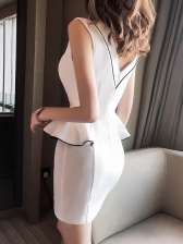 Contrast Tipping Solid Sleeveless Bodycon Dress For Club