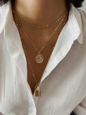 Simple Geometric Lock Pendant Layered Necklace