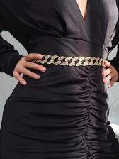 Simple Design Geometric Rhinestone Chain Belt