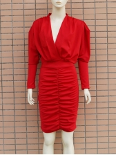 V Neck Puff Sleeve Red Long Sleeve Bodycon Dress