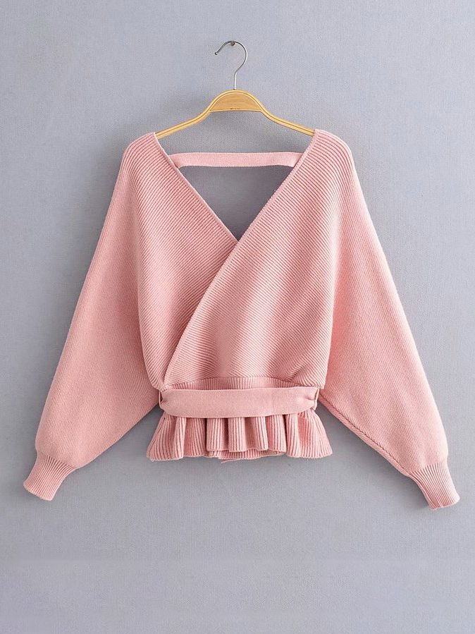 Knit Ruffled Hem Backless Pink Sweater