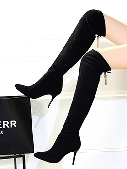 Artificial Plush Lining Over The Knee Suede Black Boots