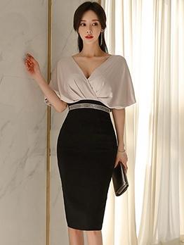 Elegant Contrast Color Patchwork Bodycon Dress