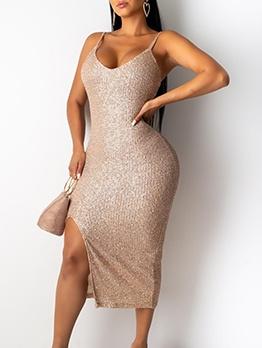 Night Club Slip Slit Sequin Dress