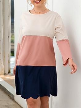 Casual Color Block Plus Size Dresses