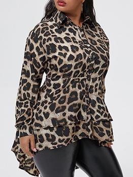Leopard Print Irregular Hem Plus Size Blouses