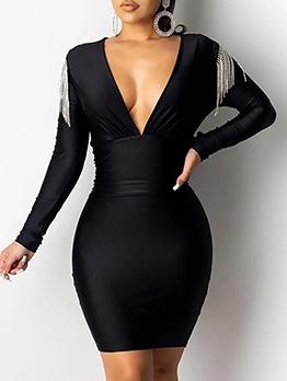 Deep v Tassels Patchwork Bodycon Dress