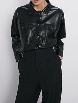 Black Two Pockets Leather Jacket