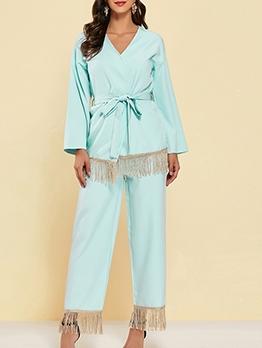 Solid Long Sleeve Tassel Hem Two Piece Pants Set