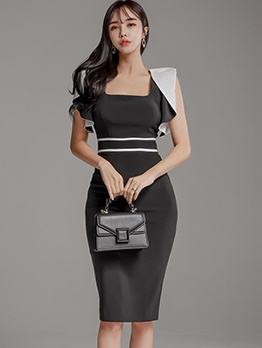 Square Neck Contrast Color Bodycon Work Dress