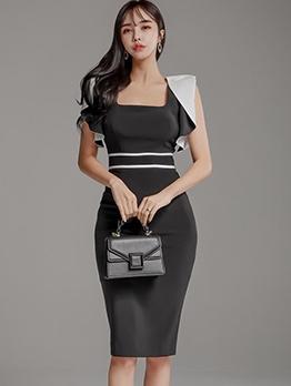 Square Neck Contrast Color Bodycon Work Dress