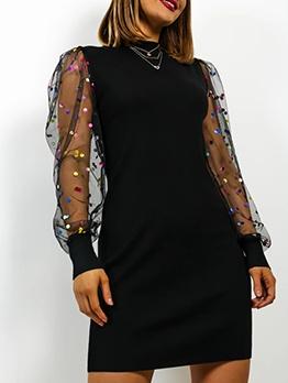 Chic Gauze Patchwork Slim Long Sleeve Dress