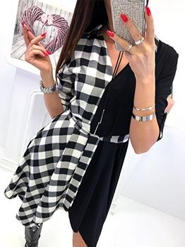 Individual v Neck Plaid Patchwork Dresses Online