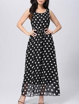 Sleeveless Polka Dots Maxi Dress For Women