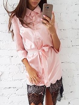 Single-Breasted Lace Panel Long Sleeve Shirt Dress