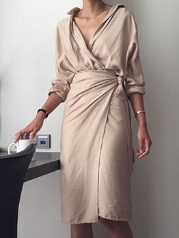 Slid Turndown Collar Irregular Long Sleeve Dress