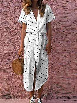 Casual V Neck Smart Waist Polka Dot Maxi Dress