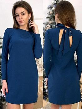 Backless Tie-Wrap Solid Long Sleeve Mini Dress