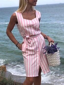 Sweetheart Collar Striped Sleeveless Dress