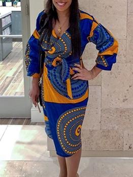 V Neck Printed Women Long Sleeve Wrap Dress