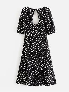 Backless Dots Short Sleeve Midi Dress